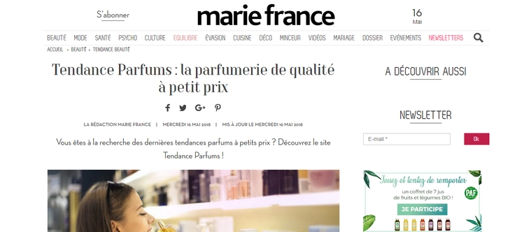 Un article consacré à Tendance Parfums par Marie France