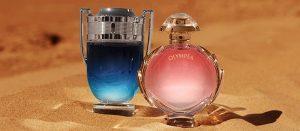 Les parfums Invictus et Olympéa Legend au coeur du désert